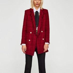 ZARA Tweed Frayed Jacket With Embellished Buttons